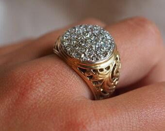 Larger-than-life vintage 14K yellow gold and rhodium-enhanced Diamond cluster ring