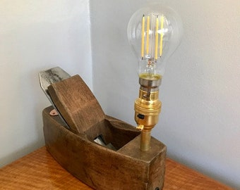 Victorian Wooden Plane with light bulb
