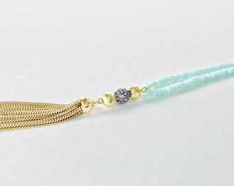 Long Aqua Beaded Necklace with Gold Tassel