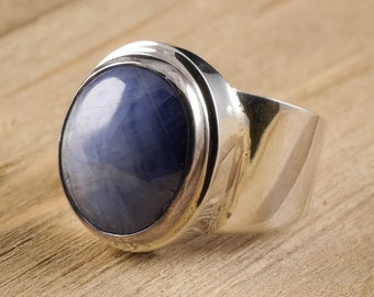 Size 8 Blue SAPPHIRE Ring - Sterling Silver Bezel Ring Handmade Jewelry - Natural Sapphire Stone Cabochon - Sapphire Jewelry J979