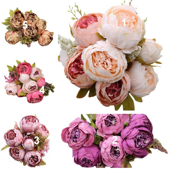 Decorative Artificial Flower Silk Peony Flowers Bouquet 10