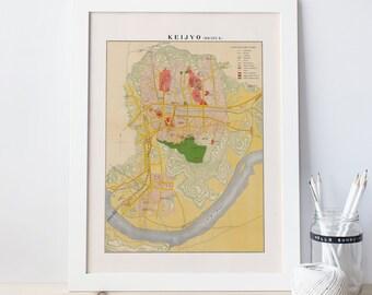 VINTAGE SEOUL MAP - Antique Map of Seoul Korea, Keijyo Map, Korean Map, Professional Reproduction