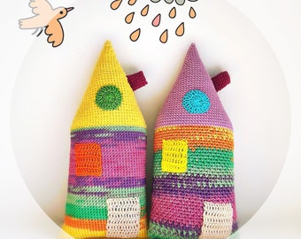Set of 2 Crochet Houses, Interior Decor, Amigurumi House, Crochet Pillow, Colorful, Accessories for Photo Shootings, Beautiful Souvenir