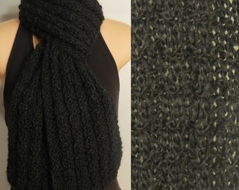Hand Made Knit Scarf Wool Mohair Alpaca Black