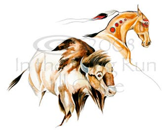 Native Horse Buffalo Bison Art Painting Print Jill Claire