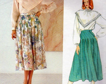 Vogue 1120, Albert Nipon, Blouse and Skirt Sewing Pattern, Misses Size 12, Pullover Blouse, Flared Midi Skirt, Detailed Waist Area