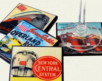 Coaster Set: Railroad Train Wood Coasters, Drink Coasters, Man Cave Decor, Travel Decor, Classic Railroad Train, Fathers Day Gift,