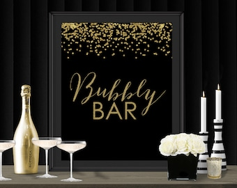 Bubbly Bar Gatsby Gold Confetti Party Poster - INSTANT DOWNLOAD - Printable Party Wedding Birthday Art Deco 1920s Bar Champagne Bubbly Sign