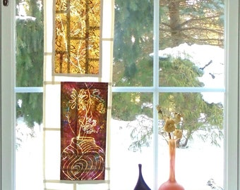 Forever Autumn  ~ Bleached Art Stained Glass Look Pojagi Batik Window Treatment / bohemian cafe dorm door sidelight curtain