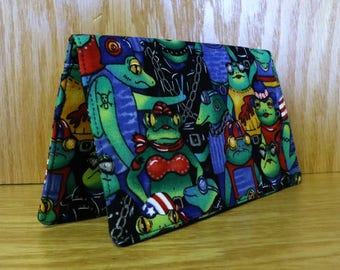 Checkbook Cover Cotton Cloth Frogs Hoodlums Top Tear Cover
