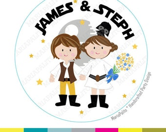 Star Wars Wedding Stickers, Personalized Star Wars Wedding PRINTED round Stickers,Labels or Envelope Seals, Bride and Groom Stickers  A1288
