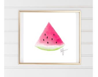 Watermelon Art Print- Watercolor Painting - Simple Watercolor Art