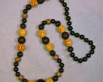 Vintage Chinese RARE Yellow Cinnabar Hand Knotted Bead Necklace ,Vintage Black Onyx Beads, Vintage Brass Tea Strainer Beads