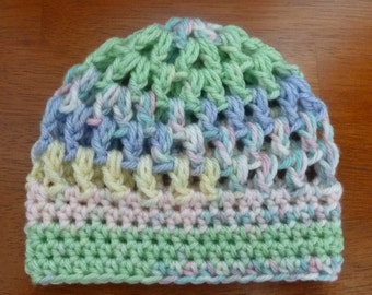Crochet Puff Stitch Hat  Size Newborn - Ready to Ship -