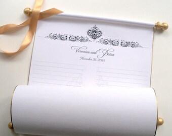 Wide wedding guest list scroll, wedding ceremony guest book, guest list scroll, custom sign-in scroll