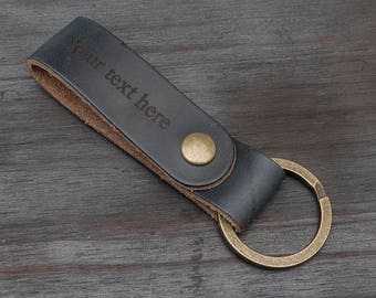 Horween Navy Chromexcel Custom Laser Engraved Full Grain Leather Key Chain Key Fob Made in USA