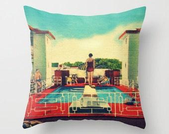 Decorative Throw Pillow, Mid Century Decor, Mid Century Bedroom, beach bedroom decor Mid Century Pillow beach Bedroom Pillow, aqua red decor