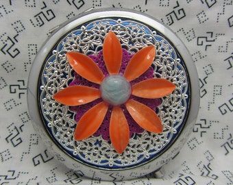 Compact Mirror Big Orange Flower Comes With  Protective Pouch