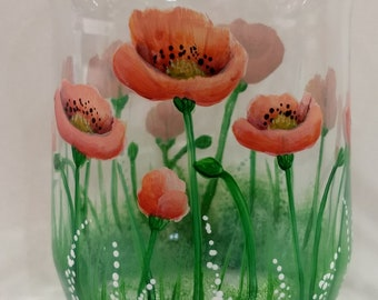 Hand Painted Poppies Glass Votive