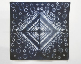 Hand Dyed Cotton Indigo Shibori Scarf - Bandana
