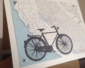 California Bike and Map - Screen-Printed Gocco Art Card