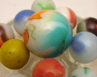 Vintage Collection Akro Agate Marbles Set of (11) Different Colors with Display Stand B