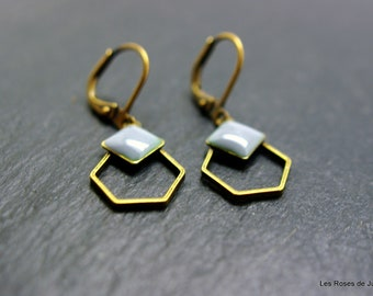 Art deco earrings, Hexagon earrings