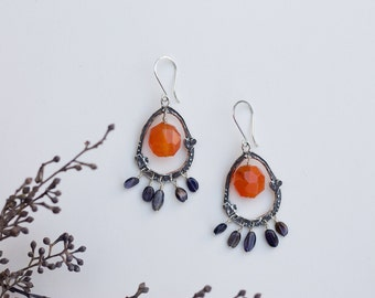 Carnelian and Iolite Earrings