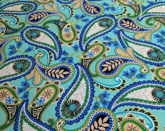 Serenity-Green Paisley Cotton Fabric from Exclusively Quilters