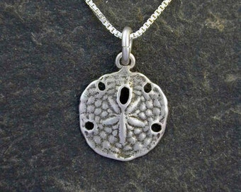 Sterling Silver Sand Dollar Pendant on a Sterling Silver Chain