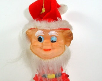 Vintage Santa Elf Ornament, Christmas Ornament, Rubber Face, Made in Japan, One Eye Closed  (7229)