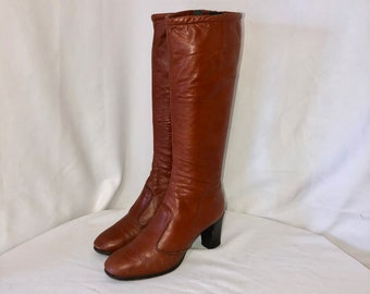 Sz 8 M Tall Rusk Genuine Leather 1980s Women Zip Up Walking Boots.