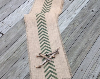 Chevron Burlap Table Runner 12-14 x 90, 96 or 102 Woodland Green Rustic/Modern Design Home Decor by sweetjanesplan