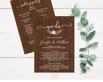 Wedding Program Fans, Wood Wedding Programs, Wooden Wedding Program, Personalized Wedding Program, Custom Wedding Program, Rustic, DIY, C4