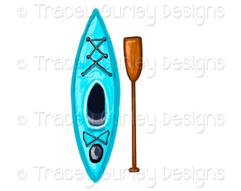 Turquoise Kayak clip art, Oar clip art, lake clip art, kayak clipart, lake clipart, sports clip art, water sports, digital clip art