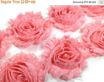 "SALE 30% OFF 2.5"" PRINTED Shabby Rose Trim- Pink with White Dots - Chiffon Trim - Pink Shabby Trim -Hair Accessories Supplies"