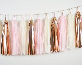 Light Pink and Rose Gold Tassel Garland, Baby Girl Nursery Banner, Pink First Birthday, Pink Cake Smash Garland, Rose Gold  Bridal Shower