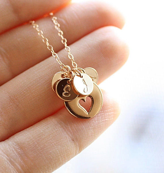 Personalized Mother S Necklace Four Gold Initial Charms
