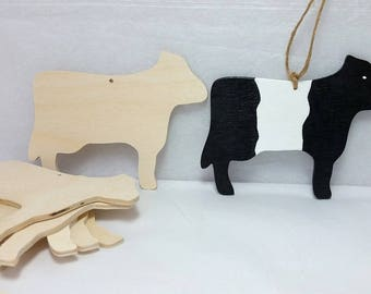 Wooden Cow Ornaments, Belted Galloway, Belties, set of 6, Unfinished,  DIY kit,  gift / momento / birthday party favor
