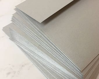 5 x 7 silver envelopes - A7 envelopes in shimmery metallic silver for 5 x 7 photos and cards - Premium silver envelope