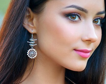 Bird earrings Boho earrings Silver earrings under 20 Ethnic earrings Silver dangle earrings Original earrings gift for Birds lover gift idea