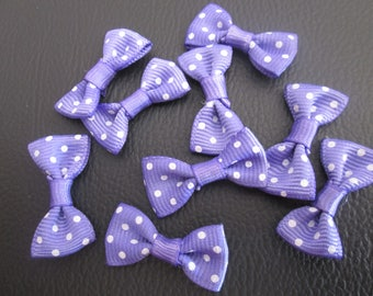 10 purple bows with white polka dots 30 * 15mm cotton and polyester