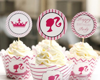 12 Sets Barbie Cupcake Wrapper & Topper Picks Set