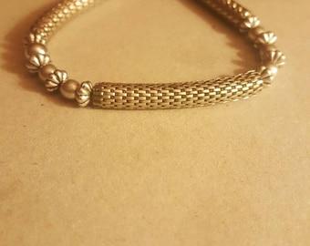 Silver bar and bead bracelet