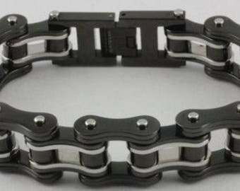 "9"" Biketober Bike Bicycle Chain Bracelet Stainless Steel Black Silver Motorcycle"