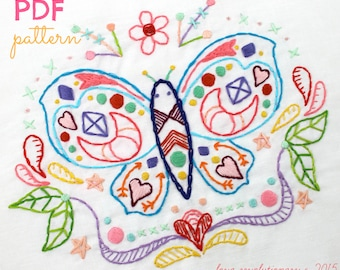 Butterfly Pattern. Hand Embroidery. PDF Pattern. Digital Pattern. Butterfly Moth. Summer. Embroidery Designs. Modern Butterfly. Boho Hippy.