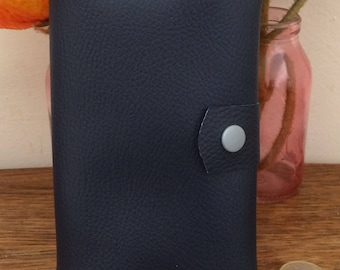 Blue wallet Navy leatherette, blue and white women's wallet, women's wallet trifold