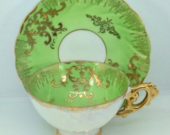 Royal Sealy Iridescent Green and Gold Gilt Cup Saucer 1954-1960 Hand Painted
