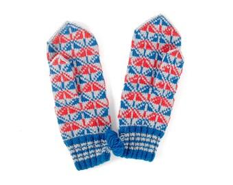 Vintage Mittens - Vintage Wool Mittens - 50s Wool Mittens - Gray Red Blue - Women's Mittens - Red Mittens - Mid-Century Modern - Handmade