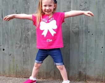 Girls shirt, Little miss shirt, personalized shirt, name shirt, girl birthday shirt, customizable girl shirt, bow shirt, cute girl shirt